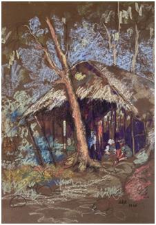 Lot 4 K H Ara, Village Hut, 1948