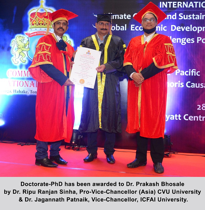 """Dr. Prakash Bhosale received a Doctorate in """"Business Journalism"""" for his remarkable work in Entrepreneurship & Business Writing"""