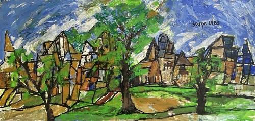 Landscape in Green – F N Souza, 1985