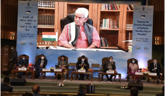 """Shri Manoj Sinha and Shri Prahlad Singh Patel inaugurate the mega tourism advertising occasion """"Tapping the Potential of Kashmir: Another Day in Paradise"""" being hauled in Srinagar"""